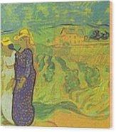 Two Women Crossing The Fields Wood Print