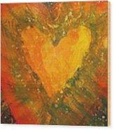 Tye Dye Heart Wood Print