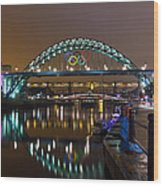 Tyne Bridge At Night Wood Print