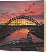 Tyne Bridges At Sunrise IIi Wood Print