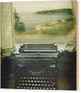 Typewriter By Window Wood Print