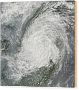 Typhoon Haikui Makes Landfall Wood Print