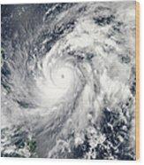 Typhoon Sanba Over The Pacific Ocean Wood Print