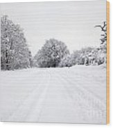 Tyre Tracks In The Snow Wood Print