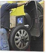 Tyre Workshop And Garage Wood Print