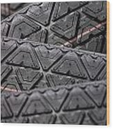 Tyres Stacked With Focus Depth Wood Print