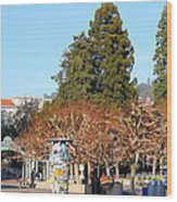 Uc Berkeley . Sproul Plaza . Sather Gate And Campanile Tower . 7d9996 Wood Print