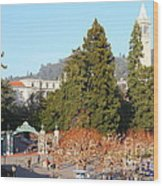 Uc Berkeley . Sproul Plaza . Sather Gate And Sather Tower Campanile . 7d10015 Wood Print