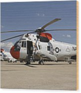 Uh-3h Sea King Helicopters Based Wood Print