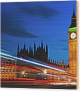 Uk, England, London, Big Ben And Light Trails At Night Wood Print