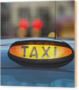 Uk, England, London, Sign On Taxi Cab Wood Print