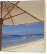 Umbrella And Tropical Beach, Close Up Wood Print