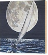 Under Full Sail..under Full Moon Wood Print by Jack Skinner
