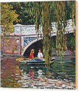 Under The Bow Bridge Central Park Wood Print