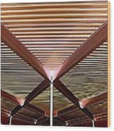 Under The Canopy Tramway Gas Station Wood Print