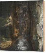Under The Falls Wood Print