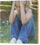 Unhappy Girl Wood Print