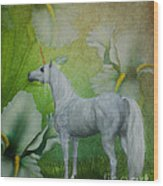 Unicorn And Lilies Wood Print