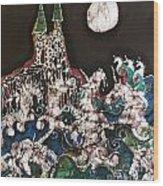 Unicorn In Sea Below Castle Wood Print by Carol Law Conklin