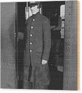 Uniformed Woman Brooklyn Subway Guard Wood Print