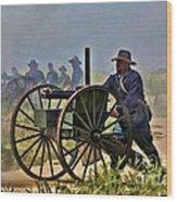 Union Gatling Gun Fire Wood Print