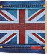 Union Jack Denim Wood Print