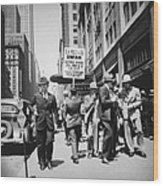 Union Men Picketing Macys Department Wood Print by Everett