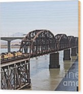 Union Pacific Locomotive Trains Riding Atop The Old Benicia-martinez Train Bridge . 5d18849 Wood Print