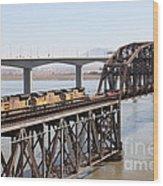 Union Pacific Locomotive Trains Riding Atop The Old Benicia-martinez Train Bridge . 5d18850 Wood Print