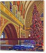 Union Station Christmas Wood Print
