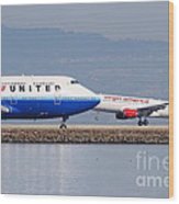 United Airlines And Virgin America Airlines Jet Airplanes At San Francisco International Airport Sfo Wood Print