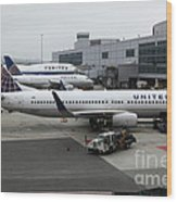 United Airlines At Foggy Sfo International Airport . 5d16937 Wood Print