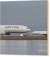 United Airlines Jet Airplane At San Francisco International Airport Sfo . 7d12081 Wood Print by Wingsdomain Art and Photography