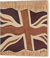 United Kingdom Flag Coffee Painting Wood Print