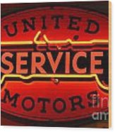 United Motors Service Neon Sign Wood Print