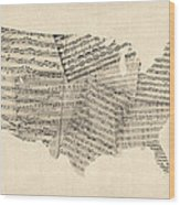 United States Old Sheet Music Map Wood Print by Michael Tompsett