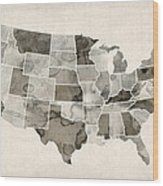 United States Watercolor Map Wood Print