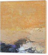 Untitled Abstract - Amber Peach  With Violet Wood Print