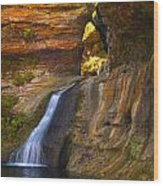 Upper Falls Of Hocking River Wood Print