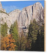 Upper Yosemite Falls In Autumn Wood Print