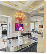 Upscale Dining Room Interior Wood Print