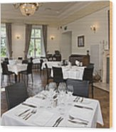 Upscale Hotel Dining Room Wood Print by Jaak Nilson