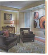 Upscale Living Room Interior Wood Print