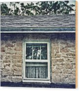 Upstairs Window In Stone House Wood Print