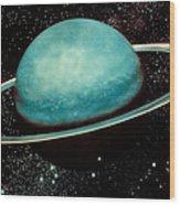 Uranus With Its Rings Wood Print