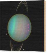 Uranus With Moons Wood Print by Nasa