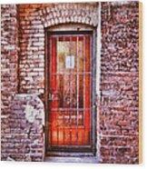 Urban Door In Old Brick Building Wood Print