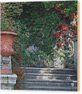 Urn And Steps At A Villa On Lake Como Wood Print
