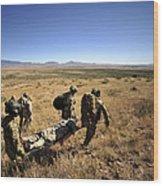 U.s. Air Force Pararescuemen Carry Wood Print