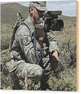 U.s. Air Force Sergeant Shoots Video Wood Print